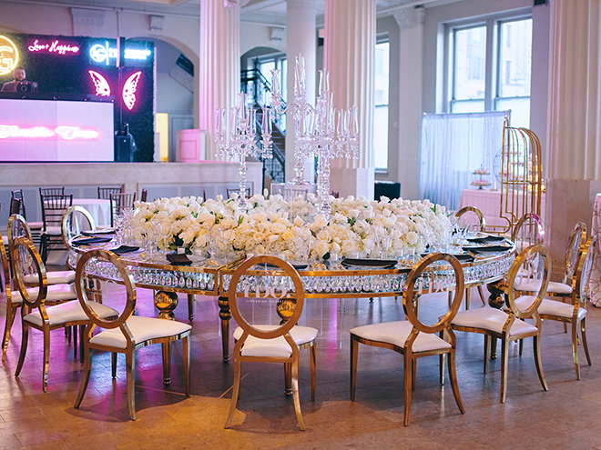 gold table, gold chairs, white flowers, luxury wedding decor