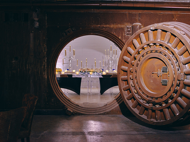 the vault, industrial chic venue, wedding venue, soiree, corinthian