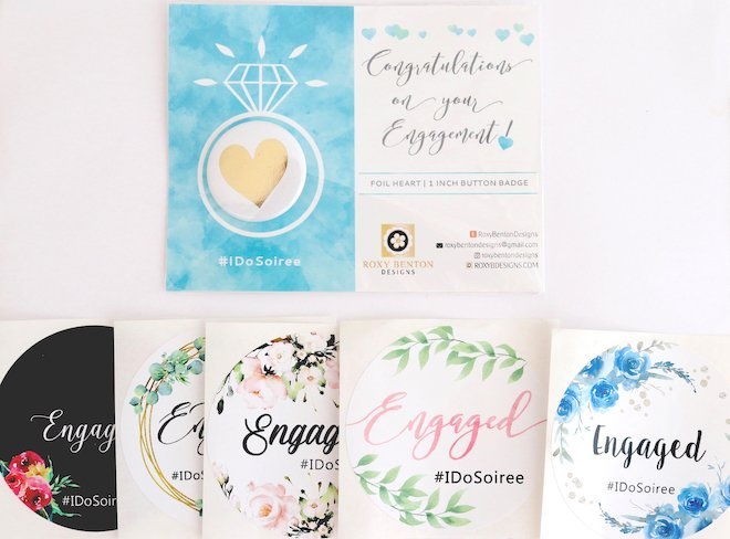 soiree swag bag roxy benton designs engaged stickers bridal buttons