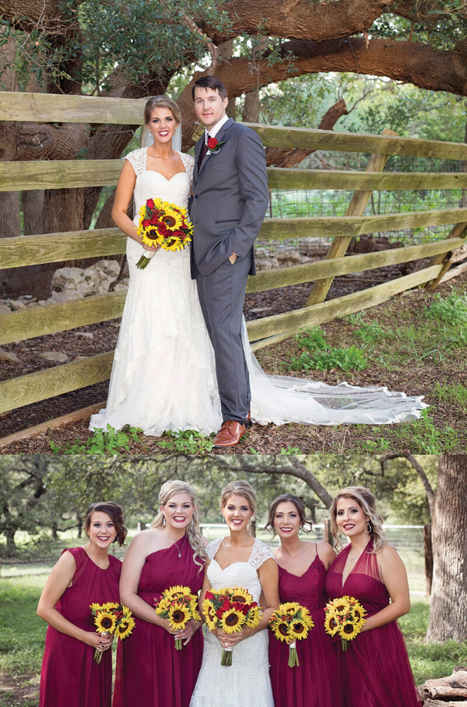 sunflowers, la estancia bella, maroon, real wedding, rustic