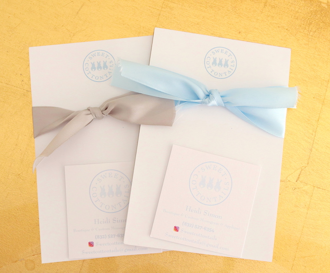 soiree swag bag sweet cottontails custom monograms appliques