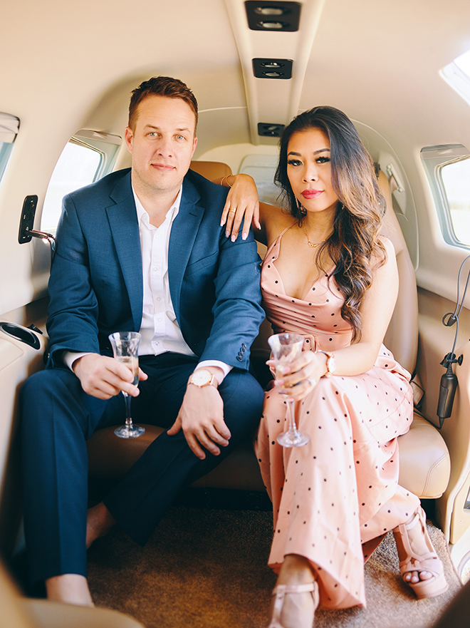 unique photoshoot, houston airplanes, luxury engagement ideas