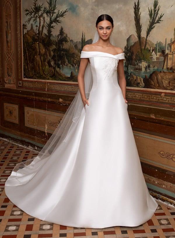 pronovias regal off-the-shoulder wedding gown