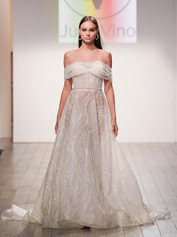 julie vino feminine full-skirted, natural-waist wedding gown