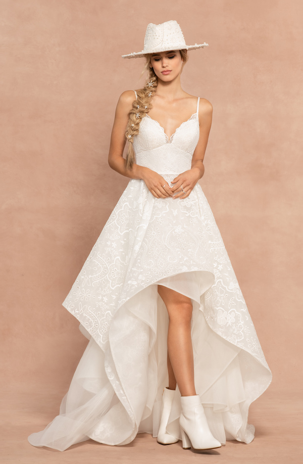 hayley paige high-low wedding gown rustic wedding venue