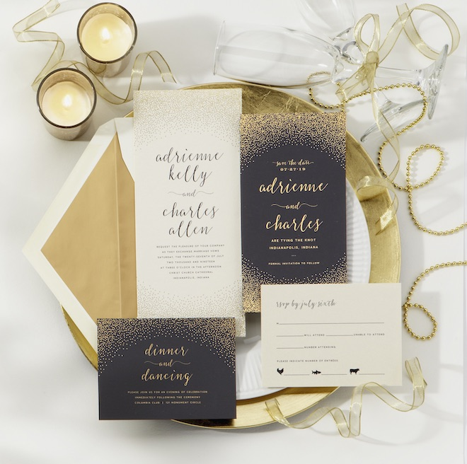 wedding, stationery, signage, invitations, gold, black, bering's, new years