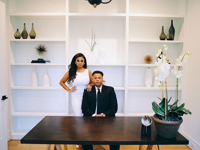 at home, covid, luxury, engagement photos, office, elegant