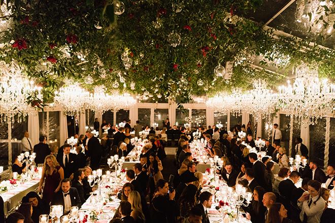 astros ryan pressly new year's eve wedding reception tent greenery chandeliers