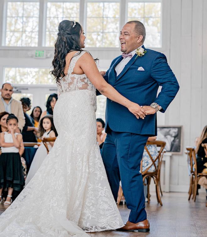 dusty rose, navy, blue, diy wedding, wedding photography, j. ernest media, first dance