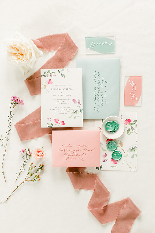 light blue, pink, aqua, invitations, envelopes, flatlay, calligraphy, floral stationery