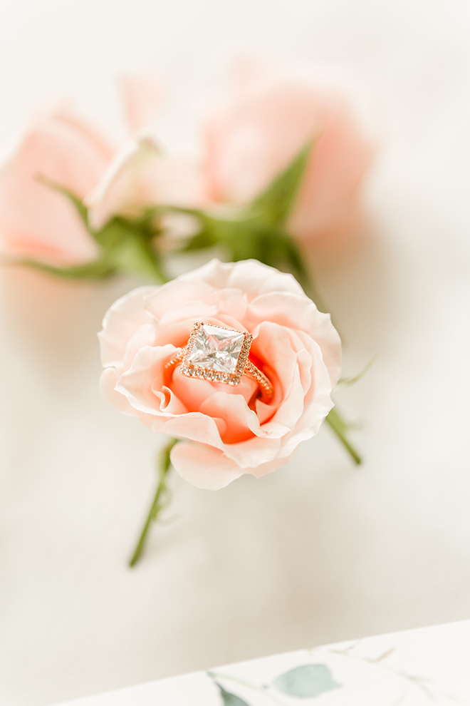 engagement Ring, square cut, pink rose, detail photography, amy maddox