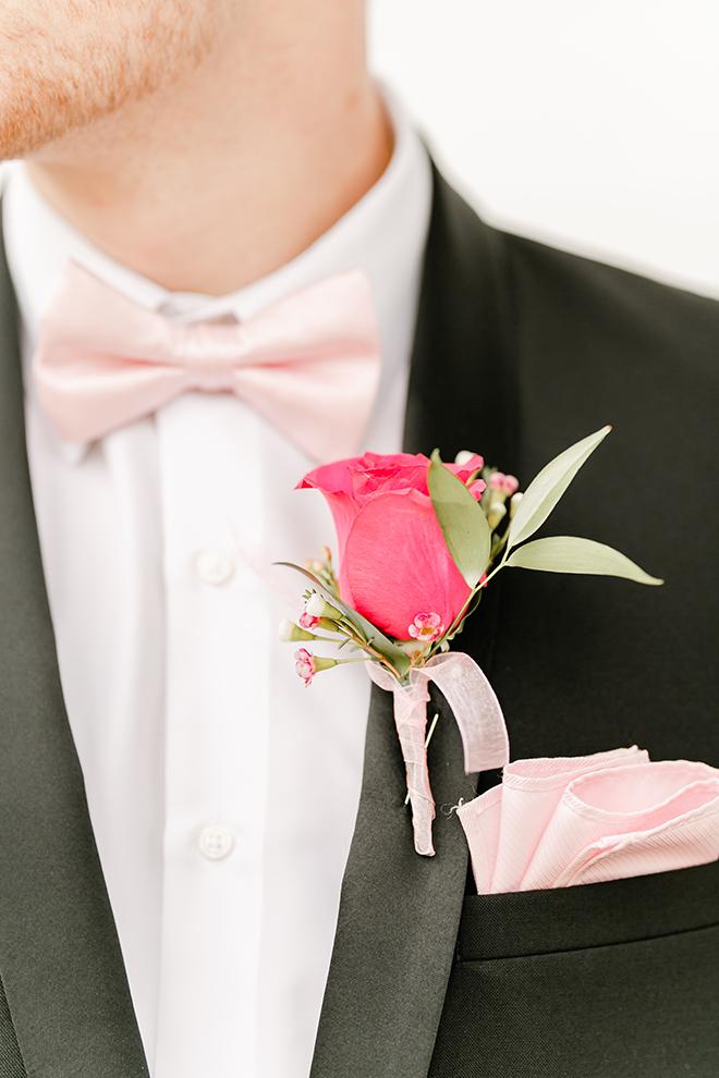pink boutonniere, rose, grooms, vintage details