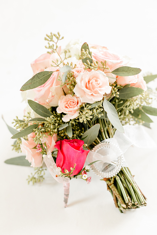 pink bouquet with greenery