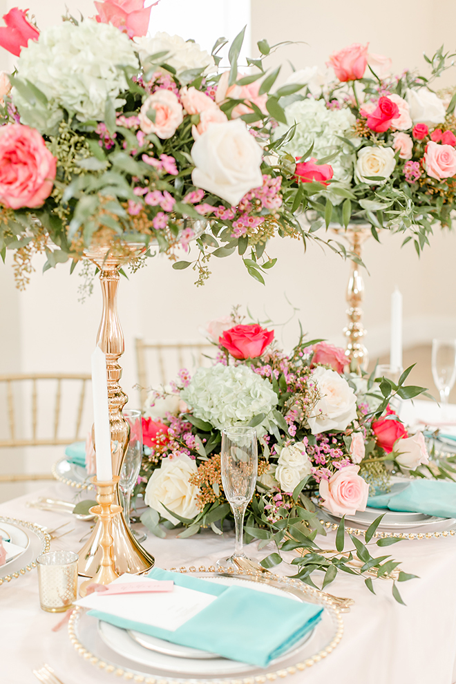 pink and green centerpieces, vintage themed styled shoot
