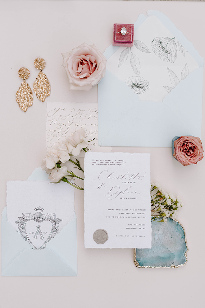 calligraphy, invitations, stationery, hand made, flatlay, peach theme, pink wedding, vintage theme, wedding photo idea