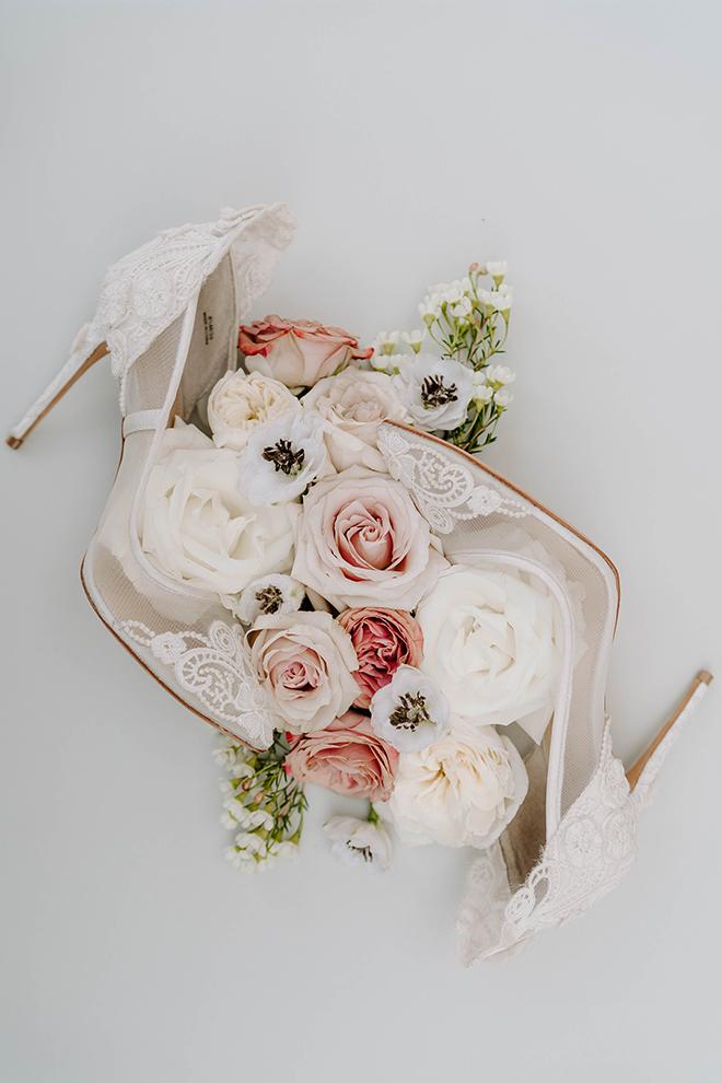 shoes, bridal shoes, flatlay, pink flowers, white heels, houston, wedding photographer, elegant, boho chic, farmhouse