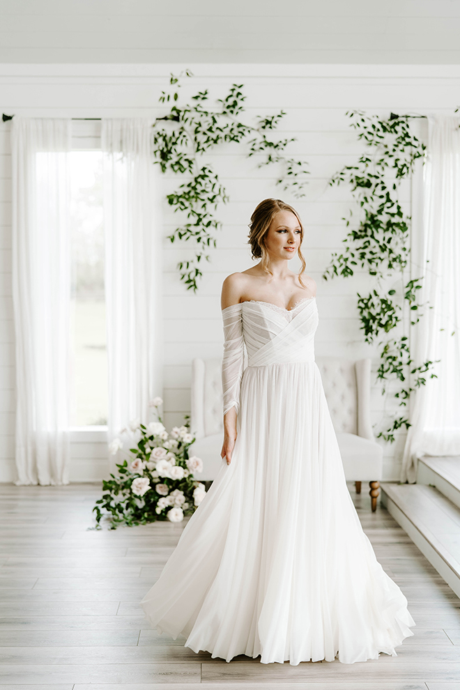 off the shoulder, a line, wedding gown, dress, sweetheart neckline, bridal portraits, bridal hairstyles, makeup