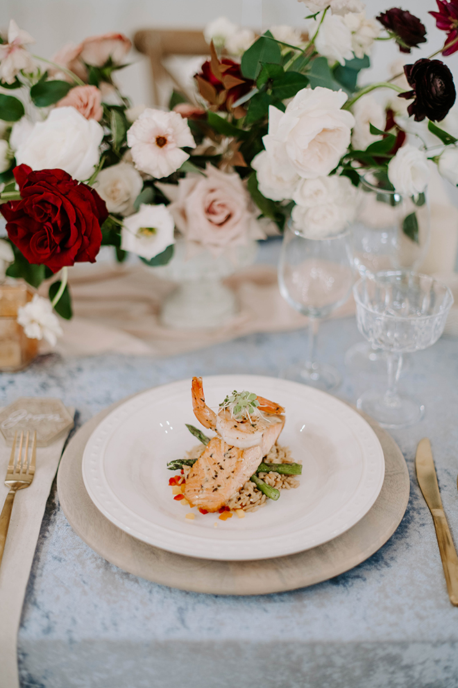 houston catering, wedding food, plate decor, table decor, place setting, salmon, wedding, photographers in texas, luxe styled shoot