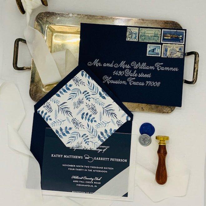 wedding, stationery, signage, invitations, acrylic, navy, invitology, paper, studio, houston