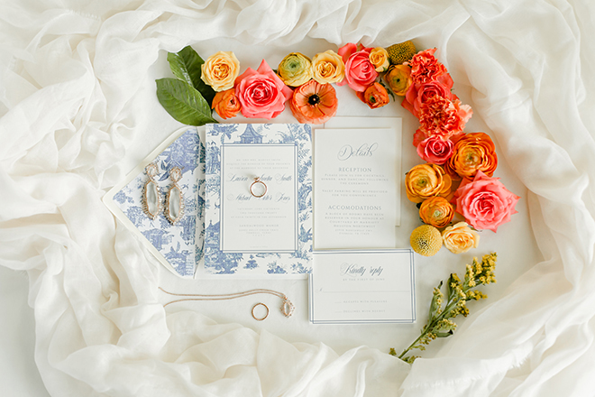 Chinoiserie themed, styled shoot, houston, wedding photography, amy maddox, photography, invitations, flatlay, bridal jewelry, orange, pink, red
