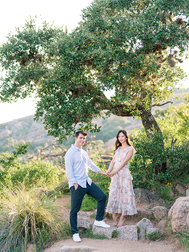 country, trees, engagement photo outfits, sundress, outside, location, texas, stephania