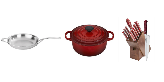 wedding registry, kitchen, bering's, pans, dutch oven, the dowry, knife set, luxury, high end