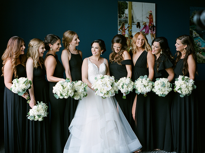 wedding photography, bridesmaids, black bridesmaids dresses, wedding bouquets, white, plants n petals