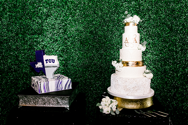 wedding cake, grooms cake, white, gold, tcu, college, cakes by gina