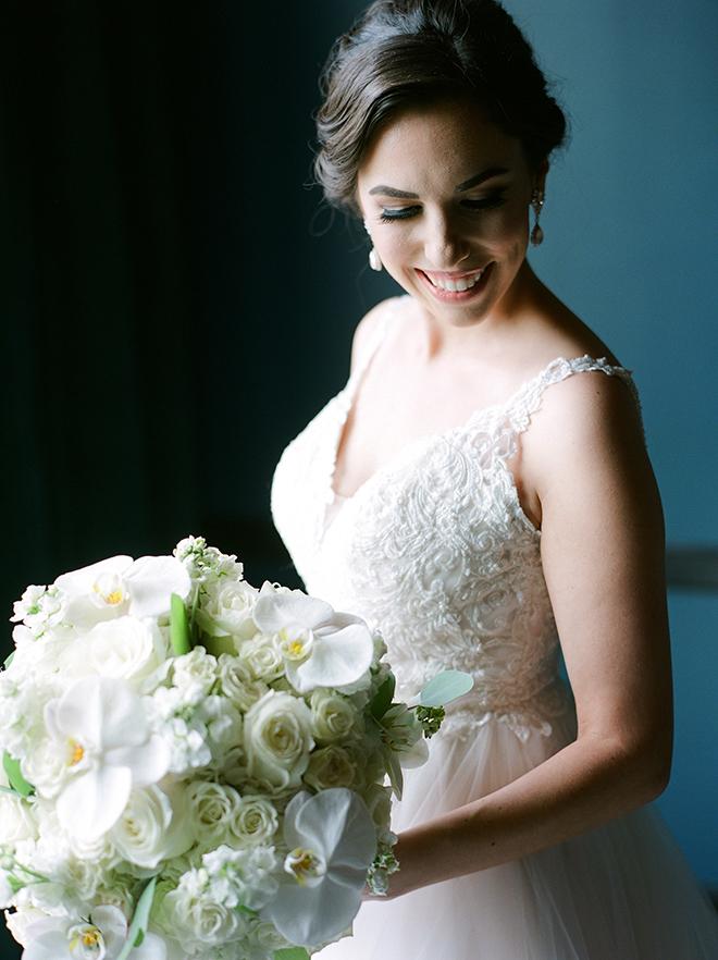 bridal portrait, bridal bouquet, white, roses, orchids, plants n petals