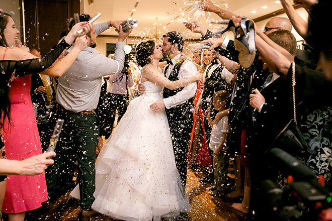 wedding sendoff, confetti poppers, reception entertainment, exit
