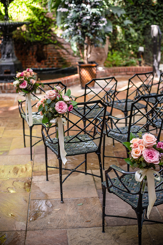 brunch wedding, outdoor ceremony, courtyard, brennan's of houston