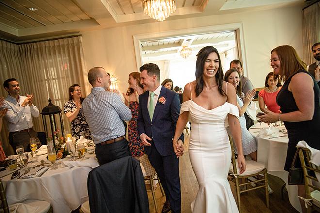 brunch wedding, reception, grand entrance, bride, groom