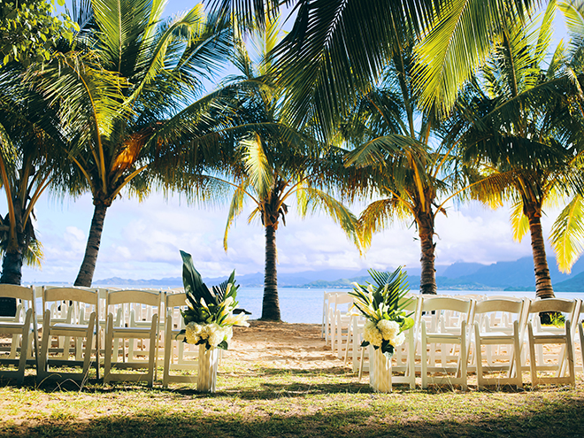 outdoor ceremony, beach, destination wedding, hawaii, wedding, photography, civic photos, videography, meant to be films, tropical