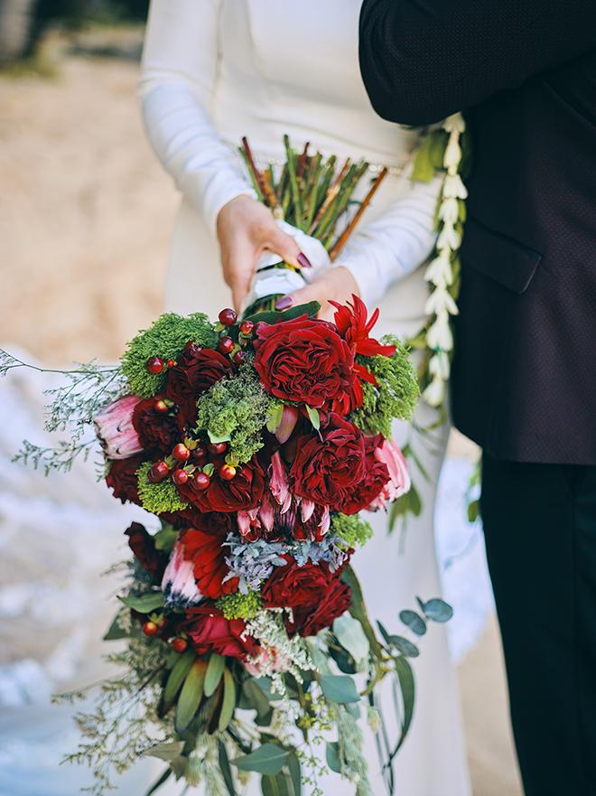bridal, bouquet, tropical, red, burgundy, green, unique, hawaii, wedding