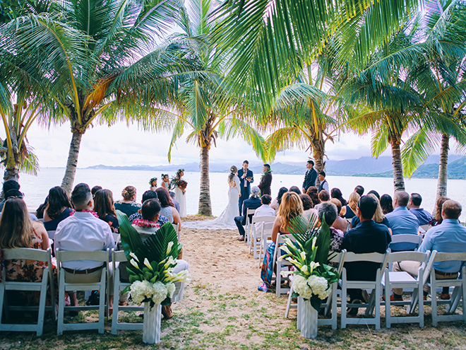 outdoor ceremony, beachfront, destination wedding, hawaii, wedding, photography, civic photos, videography, meant to be films, tropical