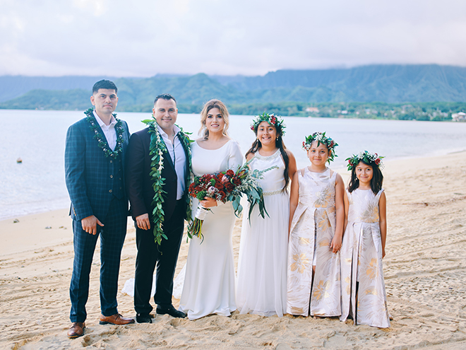 wedding party, flower girl, flower crowns, hawaii, leis, tropical, wedding photography, civic photos