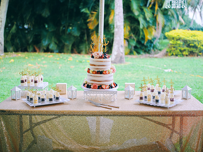 wedding cake, simple, cupcake shooters, tropical