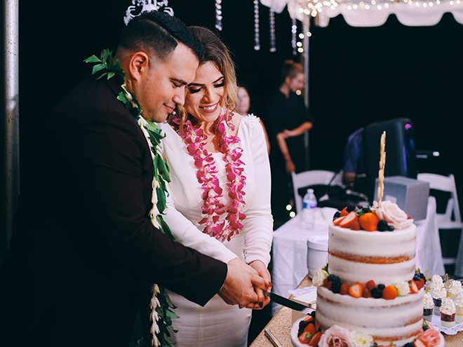 leis, cutting the cake, wedding, reception entertainment, wedding photography, civic photos