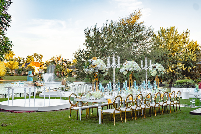 micro wedding, wedding flowers, gold, blue, white tables, blue wedding cake, cakes by gina, wedding reception, backyard