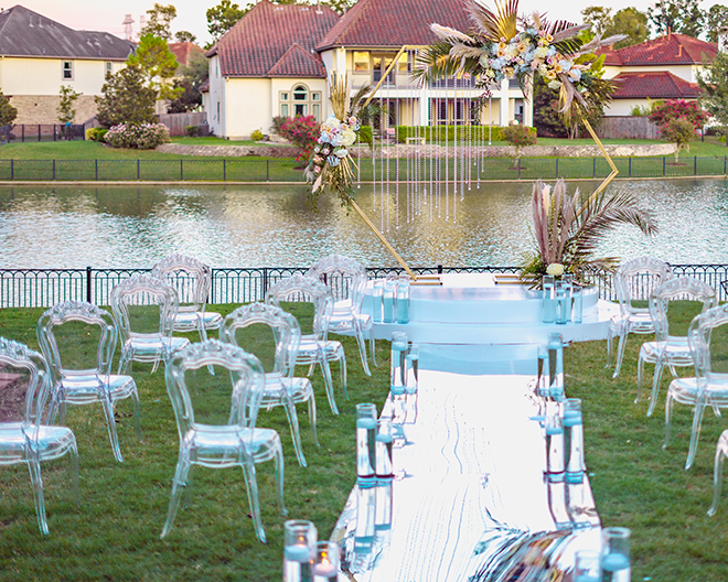 ceremony, outdoor, mirror, hexagon, gold, arch, geometric, ghost chairs