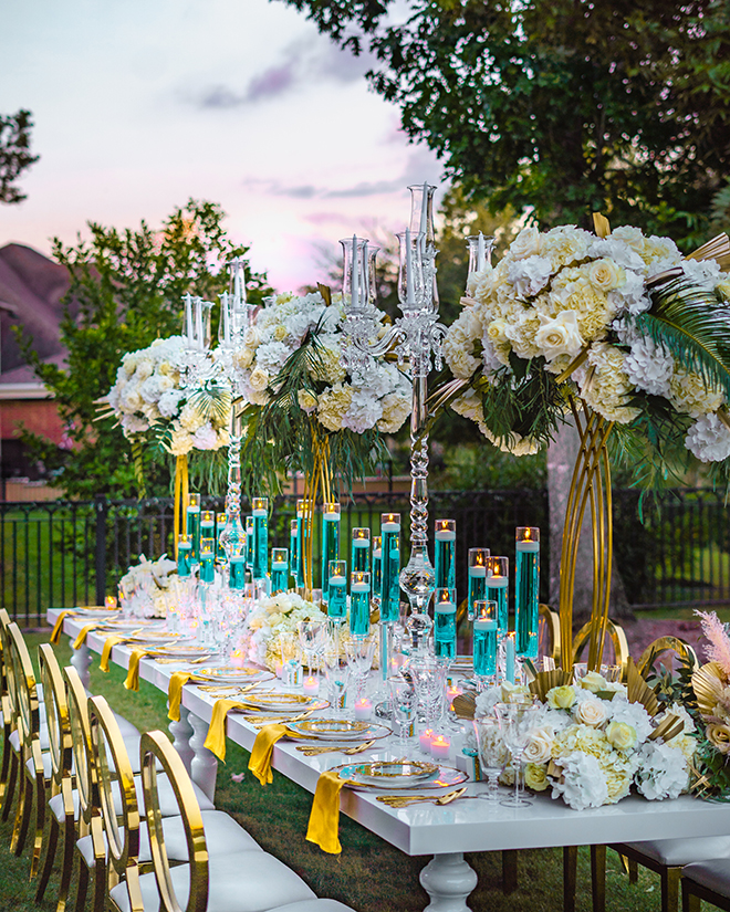 glam, outdoor wedding, reception table, candles, white flowers, backyard wedding, royal luxury events