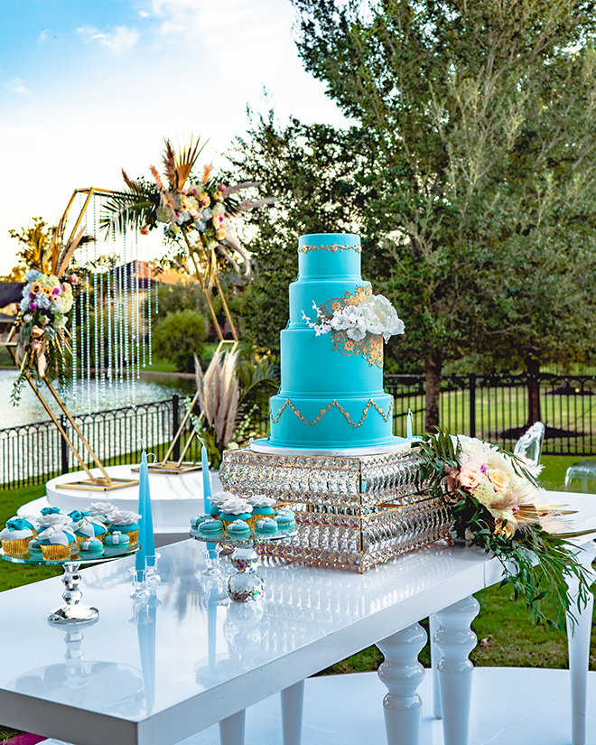 wedding cake, blue, gold, dessert table, wedding desserts, cakes by gina, macarons