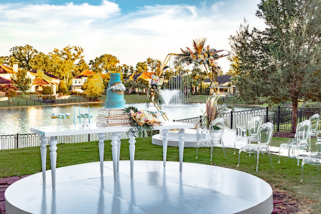 wedding desserts display, royal luxury, cakes by gina, backyard, outdoor, white tables, blue