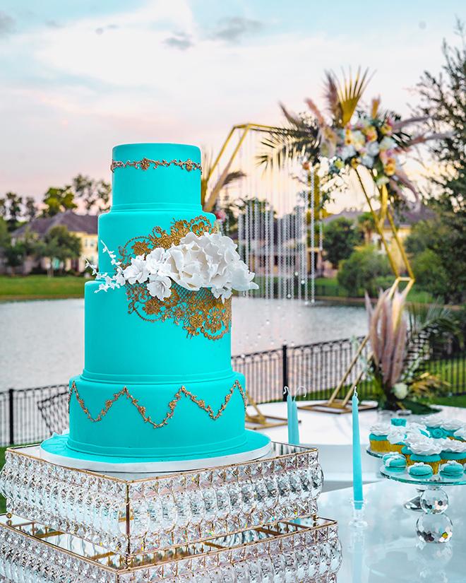 intimate wedding, blue cake, wedding cake, cakes by gina, gold, cake stand, dessert display