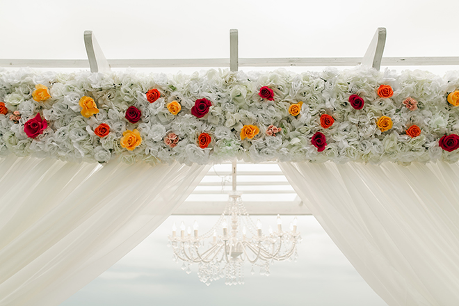 outdoor ceremony, canopy, decor, flowers, red, yellow, white, dream bouquet