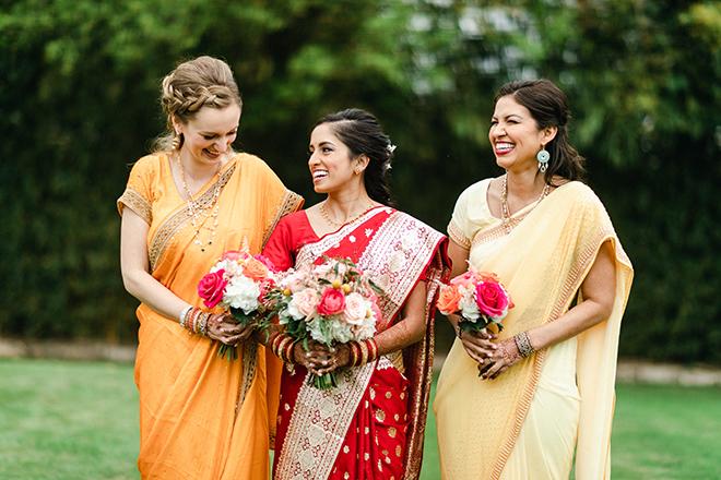 colorful, multicultural, wedding, sari, bride, bridesmaids, wedding photography