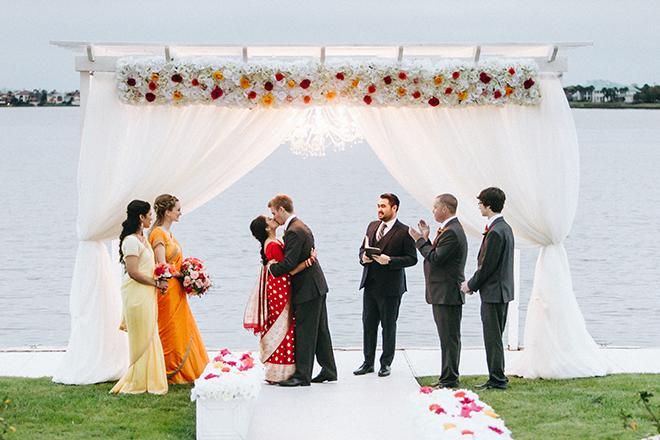 casual wedding, outdoor ceremony, wedding decor, ceremony decor, wedding venue, waters edge, dream bouquet, indian wedding