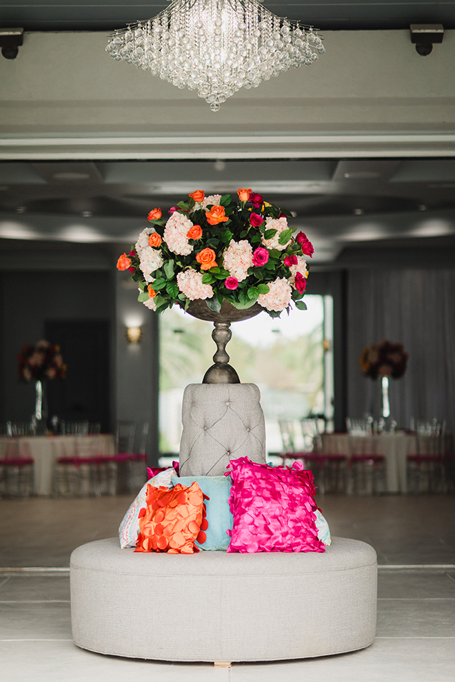 ballroom reception, wedding venue, waters edge, chic, lounge furniture, vibrant, florals, dream bouquet, wedding planner, a day to remember