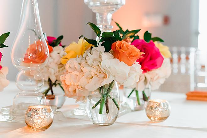wedding decor, centerpieces, simple, colorful, pink, orange, white, yellow, simple, dream bouquet