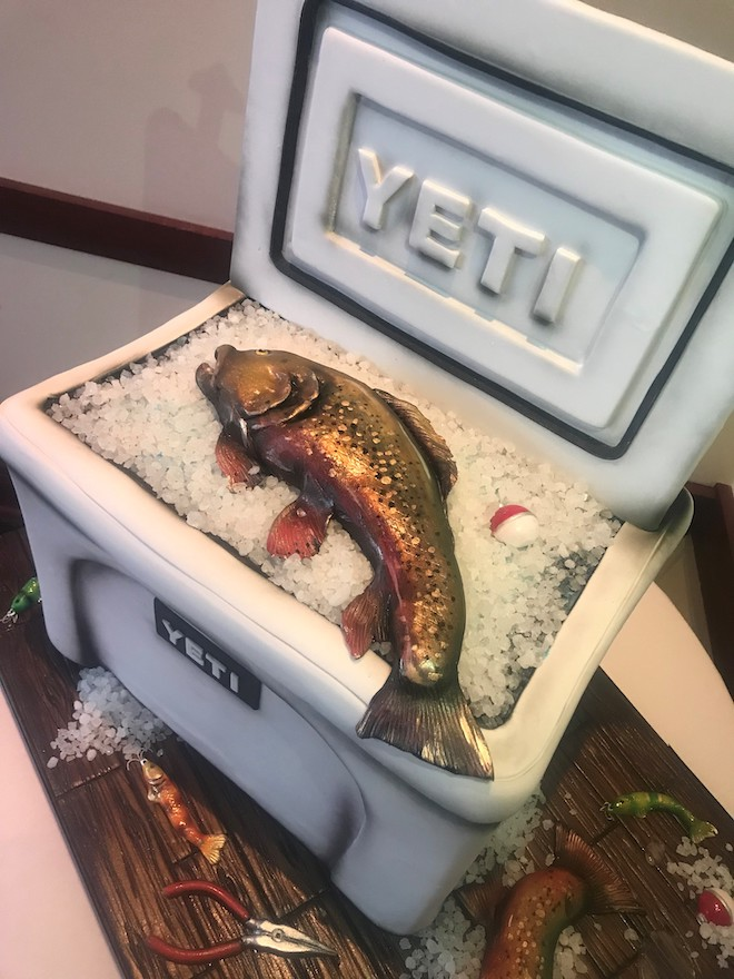 sculpted cakes, groom's cake, fishing, yeti cooler, unique, common bond cakes